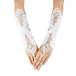 White Embroidered With Sequin Bridal Gloves