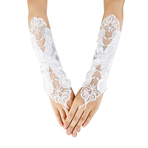Jishen Lady Formal Banquet Party Bride Lace Wedding Gloves Gift Long 11