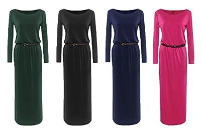 Sanrense Women's Solid Long-Sleeve Maxi Dress with Belt
