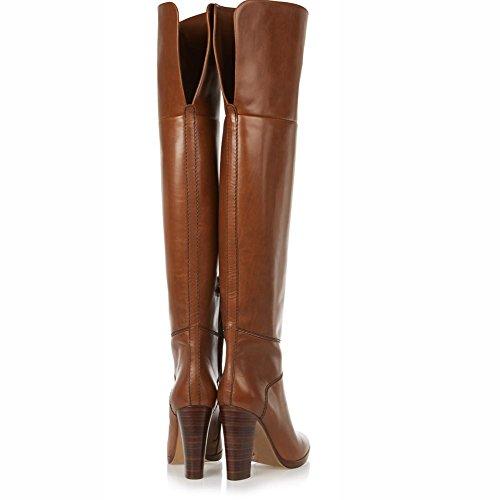 für aus Stiefel Brown spitze Brown Damenschuhe Chunky echtem Casual Stiefel Futter Kniehohe Leder Winter Heel Zehe Herbst gdfwdnOqC