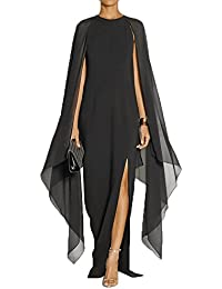 Womens Elegant High Split Formal Long Evening Gown Dress with Cape