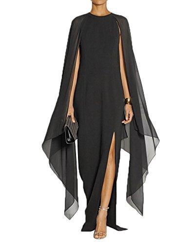 Maketina Women's Flare Chiffon Sleeve High Split Formal Evening Gown Maxi Dress with Cape Black 1 L (Dinner Cruise Dress)