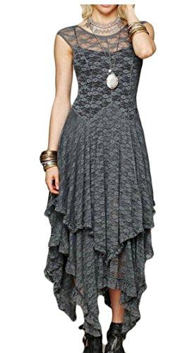 Irregular S Womens Gery Hem Floral Sexy Jaycargogo Sleeveless Dress Lace wYFzwqRd