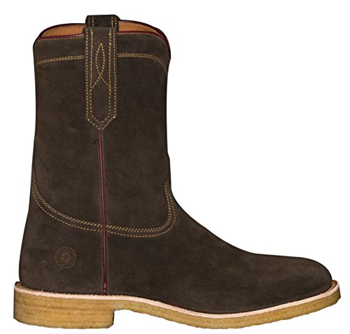 Ranch Road Boots Men's Comal County Suede Roper Cowboy Boot With Crepe Sole Brown