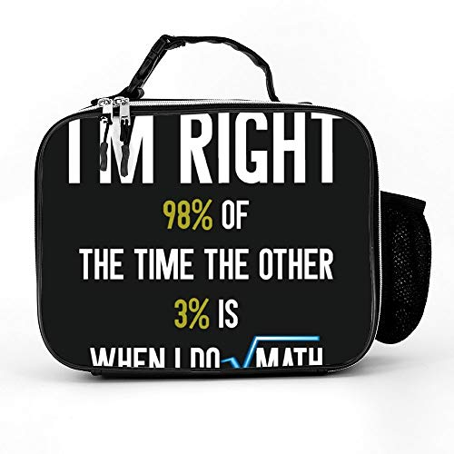 Welkoom Lunch Bag With Mainly Always Right Funny Math T Lunch Bags Insulated Tote|Durable Thermal Lunch Cooler Pack With Strap For Boys Men Women Girls -