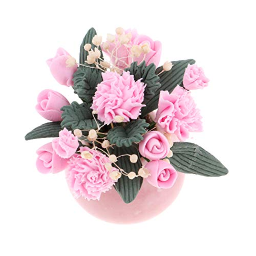 Fityle 1/12th Miniature Bunch Flower in Glass Vase Dolls House Room Decoration ()