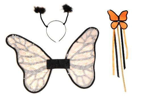 [Secret Wishes Butterfly Costume Accessory Kit, Orange/Black, One Size] (Orange Adult Butterfly Costumes)