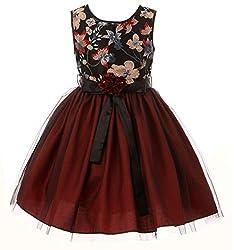 Floral Embroider Sequin Tulle Flower Girl Dress