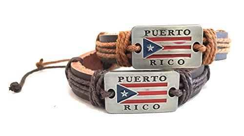 - 2pc, Puerto Rico flag, Leather Wristband,Boricua, Puerto Rican flag wristbands