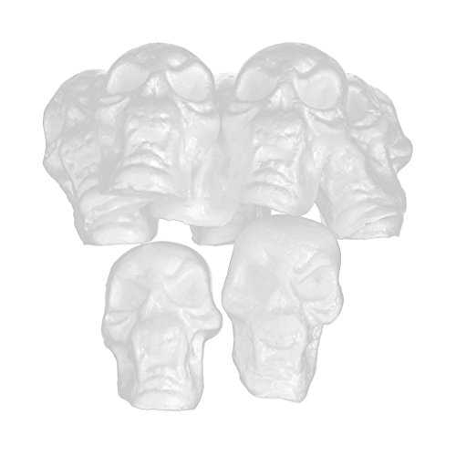 Baosity 10 Pieces White Flat Back Halloween Skull Styrofoam Foam Ornament Decoration for Kids DIY Craft Handmade Toys -