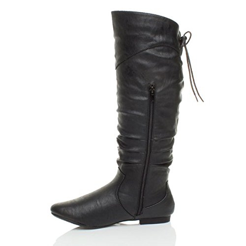 ruched round size toe winter Matte knee Ajvani Black Womens lace up riding ladies boots zip calf slouch A4qwHY