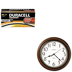 KITDURMN1500B24MIL625417 - Value Kit - Howard Miller Talon Wall Clock (MIL625417) and Duracell CopperTop Alkaline Batteries with Duralock Power Preserve Technology (DURMN1500B24)