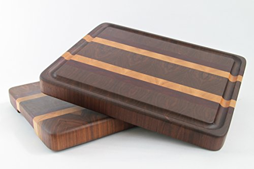 Handcrafted Wood Cutting Board - End Grain - Maple, Purpleheart & Walnut. No slip and easy grip. Optional juice groove. For Chef or cook!