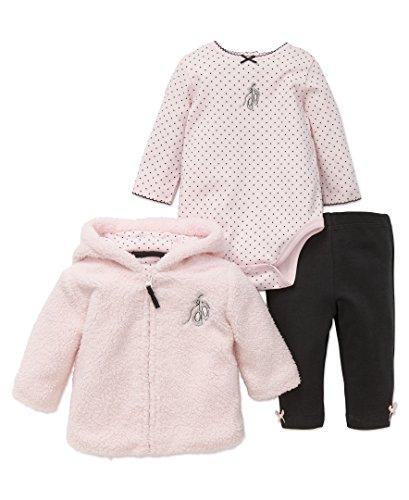 Girls 3 Piece Sweater (Little Me Baby Girls Newborn 3 Piece Hoodie Set, Ballet Hoodie, 12M)