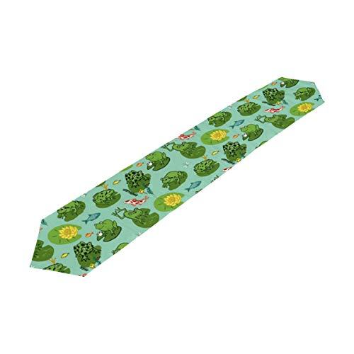 DOPKEEP Funny Frog Animal Pattern Table Runner Machine Washable for Farmhouse Dresser Cover Runner Wedding Party Fall Decorations,13 x 70inch by DOPKEEP