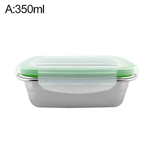 Fancylande Lunch Box Cajas de Alimentos Cajas Almuerzo pequeñas, Caja Almuerzo para Acero Inoxidable – Tartera Rectangular, Colorful, 350ml