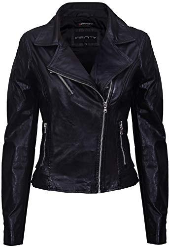 Ladies Black Vintage Brando 100% Leather Biker Jacket