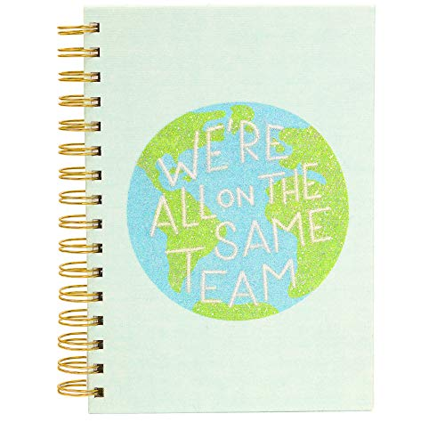 Free Period Press 6x8 Spiral Sparkle Notebook, Deluxe Fabric Hard Cover, 200 White Lined Pages, Same Team