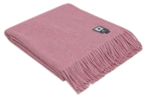 Superfine Natural Alpaca Yarn & Merino Wool Woven Blanket Fringed Throw (Pink)