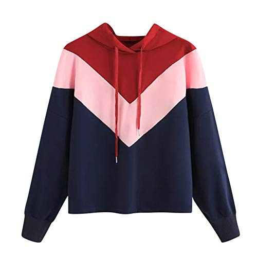RedBrowm Women's Casual Tricolor Patchwork Hoodie Long Sleeve Pullover Top Coat ()
