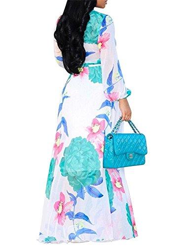 Party Dress Floral Long Womens Neck Print Maxi Dresses White Sleeve Beautife V Chiffon Deep 7BPwq11F