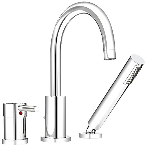 Plumb Pak DEL43CCP Single Handle Widespread 3 Hole, Roman Bathtub Faucet With Hand Spray, Polished Chrome