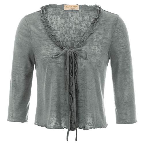 Kate Kasin Open Front Bolero Shrug 3/4 Sleeve Grey Size XL KK826-6