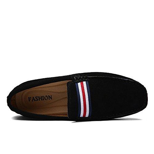 DUORO Piel 2 Negro para de Casual Mocasines Zapatos Planos Hombre Loafer SgTSr