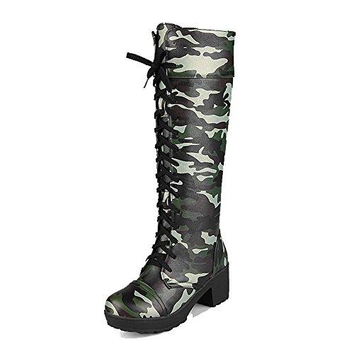 Lace Boots AgooLar Heels Assorted Women's Kitten Color Armygreen High up top PU aav4SqH