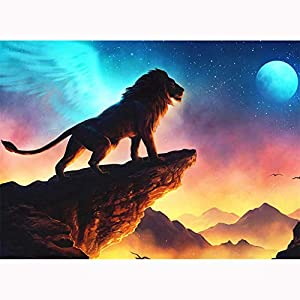 5D Diamond Painting Kits for Adults Cartoon Elephant feilin Full Drill, DIY Cross Stitch Crystal Mosaic Picture Artwork for Home Wall Decor Gift (The Lion King, 40x30cm)