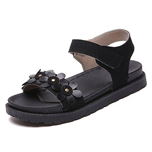 ZHZNVX Zapatos de mujer de goma confort de verano sandalias planas para el exterior del talón negro/beige/Camel Black