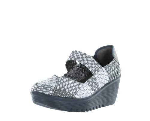 Bernie Mev Womens Lulia Casual Wedge Shoes,Silver,40