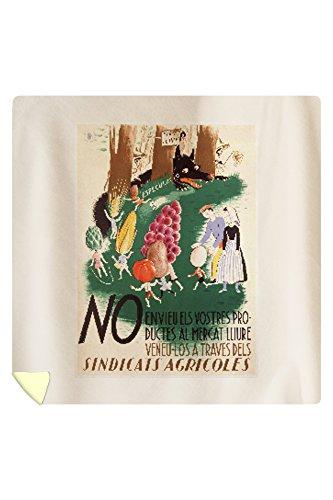 No Envieu els Vostres Productes Vintage Poster (artist: Mora) Spain c. 1937 (88x88 Queen Microfiber Duvet Cover) by Lantern Press