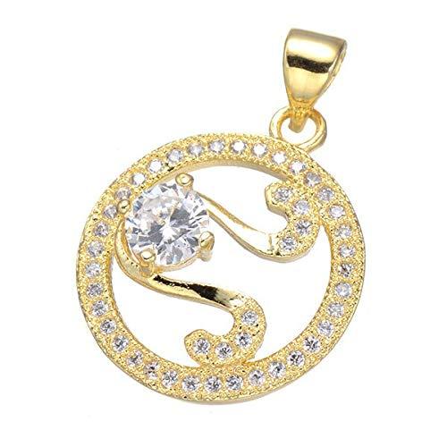 Popular Women Charm | Micro Pave Cubic Zircon Gold Pendant for Necklace (5Pcs/Lot) (Light Yellow Gold Color)