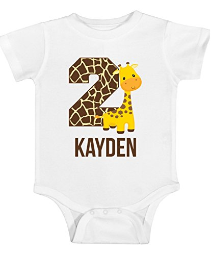(Blu Magnolia Co Boys Safari Giraffe Birthday Shirt Any Age | Personalized with Any Name (White, 24 Month)