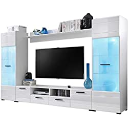"Modern Entertainment Center Wall Unit with 15 Colors LED Lights 65"" TV Stand"
