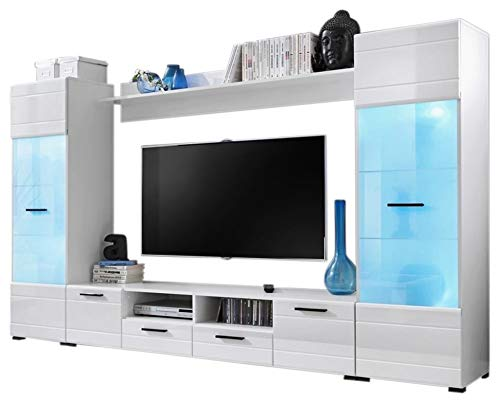 - Modern Entertainment Center Wall Unit With 15 Colors LED Lights 65