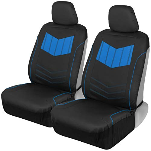 Motor Trend MTSC304 Blue ComfortPlush PU Leather All Protection Sideless Seat Covers for Car Auto (Sedan Truck SUV Minivan) - Front 2pc