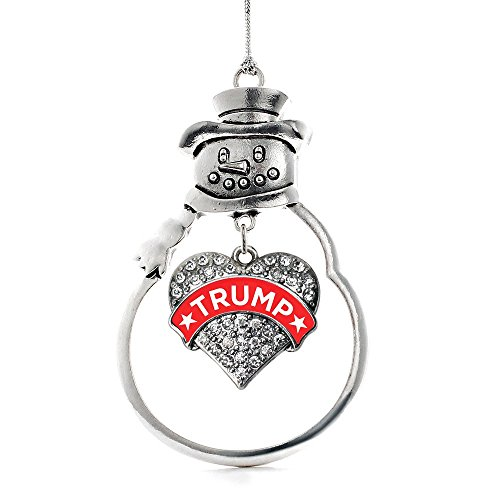 Inspired Silver – Trump Supporter Charm Ornament – Silver Pave Heart Charm Snowman Ornament With Cubic Zirconia Jewelry