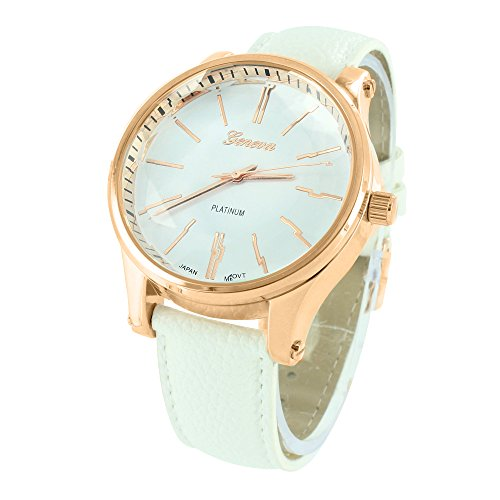 Rose Gold Tone Watch White Leather Strap Joe Rodeo Jojo Jojino Mens Womens