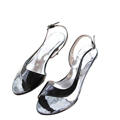 QPYC Colores de caramelo Sandalias Transparentes Verano Fish Mouth Heel Splice Hebilla Ocupación Mujeres Sandalias Tamaño 33-46 black
