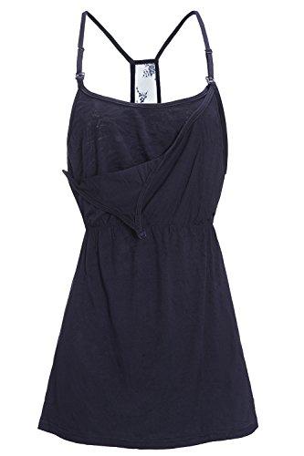 MisShow Women's Double Opening Maternity Nursing Cami Breastfeeding Shirts(Navy,S) ()