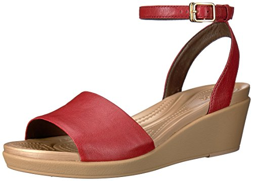 Crocs Womens Leigh-Ann Ankle Strap Leather Wedge Sandal Garnet