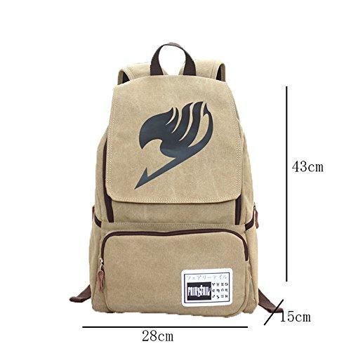 JUND Männer Canvas Mode Anime Rucksack Schule Schultasche Jungen Freizeit Druck Daypack Outdoor Travel Backpack Groß Khaki2 nHwLwTMfM