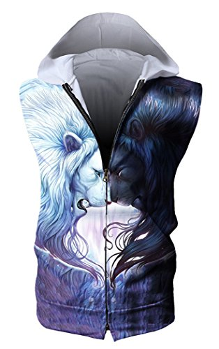 HOP FASHION Unisex Sleeveless Workout Lions Print Hoodie Tank Tops Zipper up Vest Tees with Front Pockets (Print Two Pocket Vest)