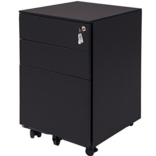 - Three Drawer File Cabinet Mobile Metal Lockable File Cabinet Under Desk Fully Assembled Except for 5 Castors (Black)