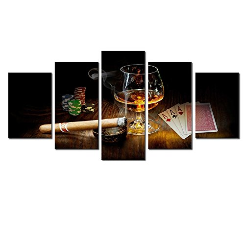 AWLXPHY Decor- Cigars Cup Poker Room Wall Art Canvas Painting Set Framed 5 Panels for Poker Room Decor Modern Liquor Canvas Stretched Artwork Giclee (Black, W60 x H30) by AWLXPHY Decor