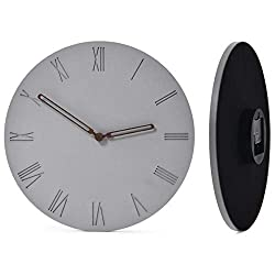 Wallohere Wall Clock Non Ticking Silent Wall Clocks Battery Operated Art Modern Decor Concrete Round Wall Clock with Roman Numerals 12 Inch for Bathroom Home Office Living Room