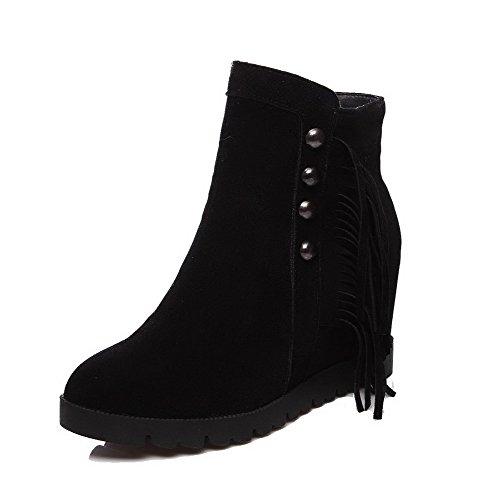 Black Round Imitated Boots Zipper Allhqfashion High high Suede Toe Heels Women's Ankle Closed B6cgFA7q