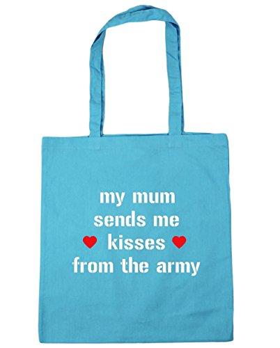 HippoWarehouse mi madre Me envía besos desde el Ejército Bolsa de la compra bolsa de playa 42cm x38cm, 10litros azul (Surf Blue)